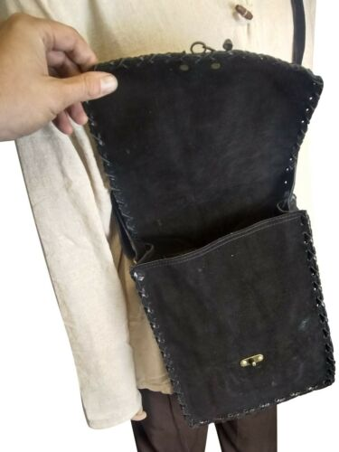 LARP Leather Suede Shoulder Bag Medieval Black and Brown L /& M Size Reenactment