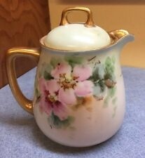 "VINTAGE BAVARIA HAND Painted German Porcelain China Creamer Pot with Lid 5"" TALL"