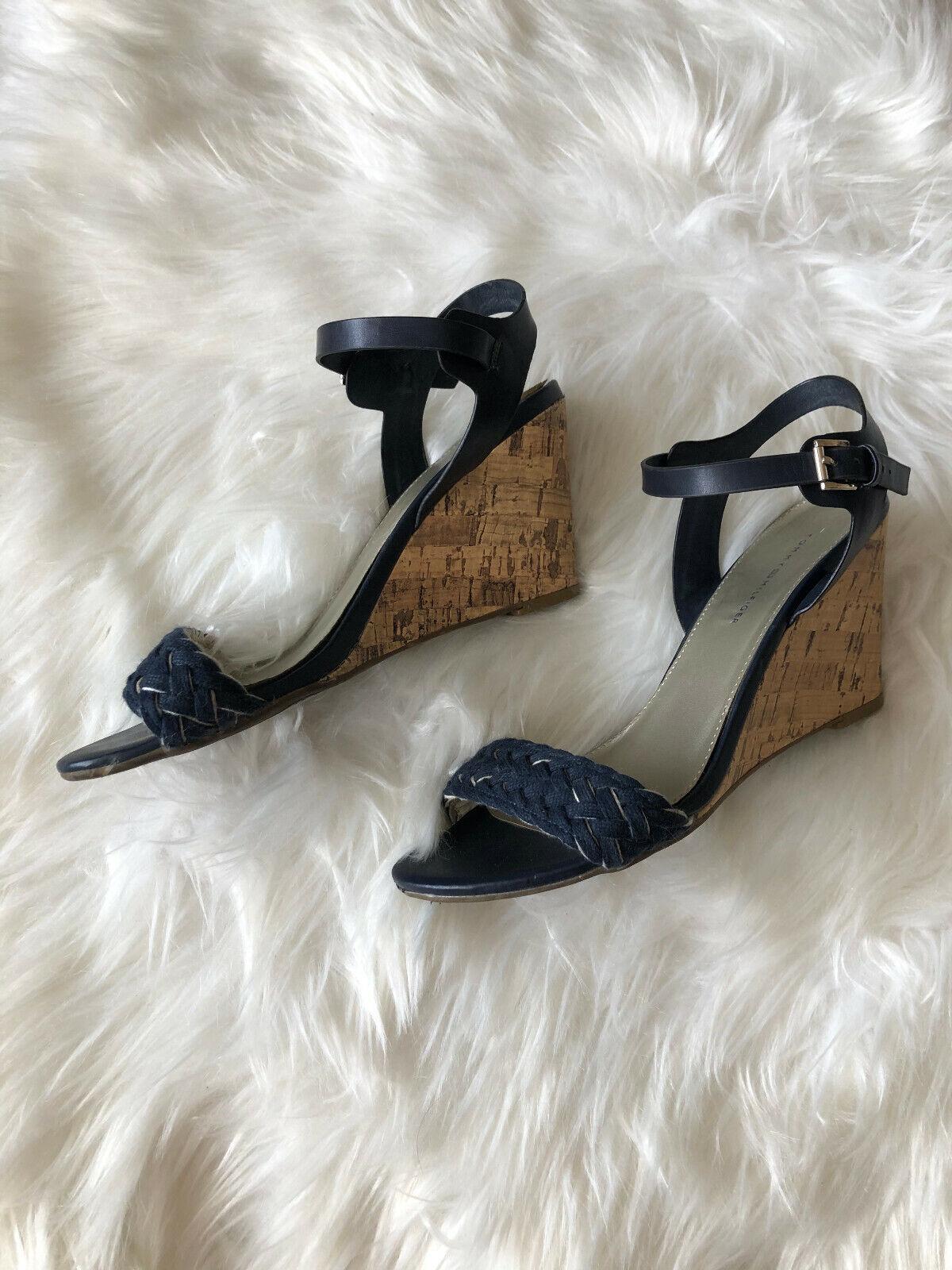 Tommy Hilfiger Navy Blue Ankle Strap Braided Cork… - image 1