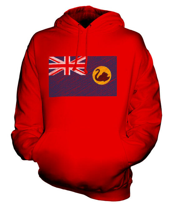 WESTERN AUSTRALIA KRITZELTE FLAGGE UNISEX KAPUZENPULLOVER HOODIE HERREN DAMEN