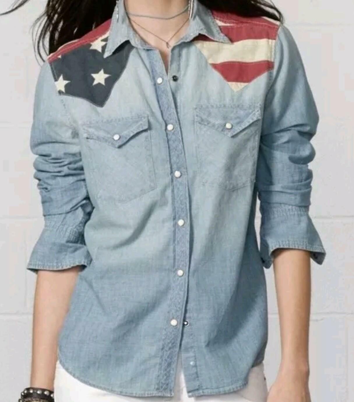 Denim And Supply Ralph Lauren Womens Denim Flag Shirt Sz XS White Snaps Western