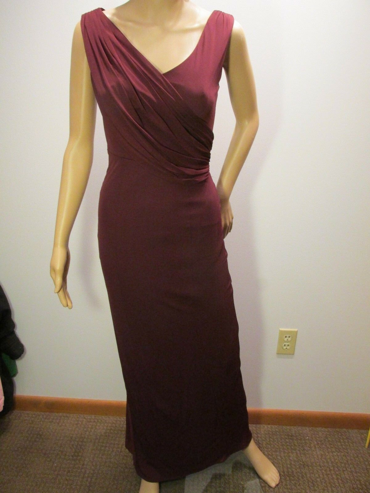 KAREN MILLEN lila Draped Jersey Gown Dress US2, UK6 Sleeveless Ruched BodyCon