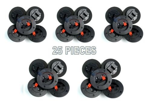 25 Pack Screw Type Round Push Spring Terminal Cup Connector Empty Speaker Boxes