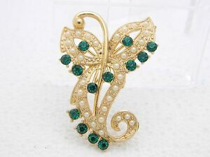 VTG-Gold-Tone-Green-Rhinestone-Faux-Pearl-Art-Nouveau-Style-Pin-Brooch