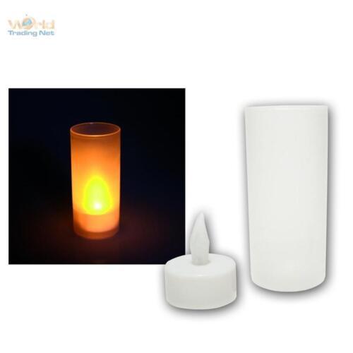 25 x LED Kerze mit Windglas Teelicht flackernde LEDs Kerzen elektrsich candle