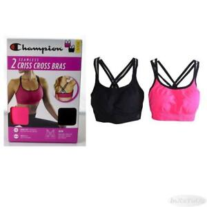 eda2ca3a3dcd2 Womens Champion 2 Pack Seamless Criss Cross Sports Bra Pink Black ...