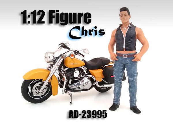BIKER CHRIS FIGURINE FIGURE FOR 1/12 SCALE MOTORCYCLES AMERICAN DIORAMA 23995