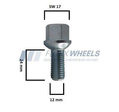 20 X Radschraube Kugelbund M12x1.5x60mm R12 SW17 Radbolzen Neu