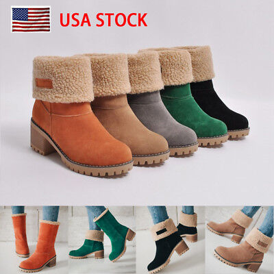 US Womens Snow Booties Warm Winter Faux Fur Suede Shoes Square Heels Ankle Boots