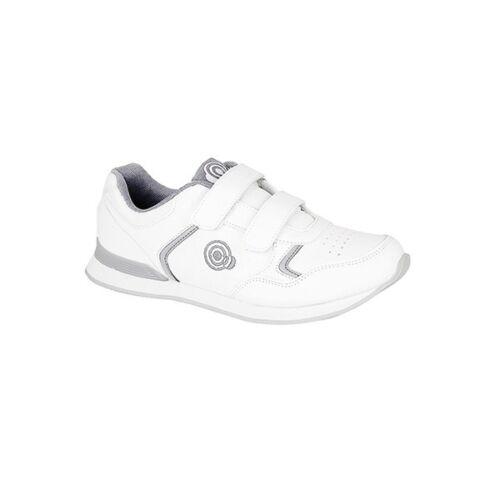 DEK Mesdames Mens Twin Touch fermer confort décontracté Bowling chaussures formateurs blanc//gris