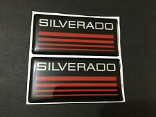 New Custom Epoxy Resin Silverado Emblem Pillar Cab Badge 2pcs Red