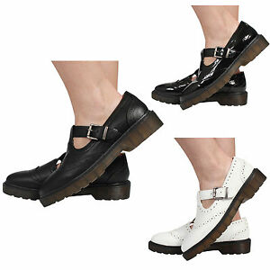 WOMENS-FLAT-CASUAL-BUCKLES-CHUNKY-T-BAR-BROGUE-WORK-LADIES-SHOES-SIZE-3-8