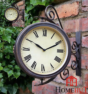 Outdoor-Garden-wall-Station-Clock-amp-Temperature-with-Bracket-swivels-32cm