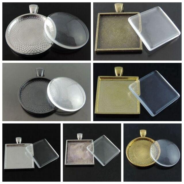 1 Set Antiqued Alloy Round/Square Bezel w/ Glass Tile Cabochon-pendant kit
