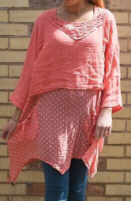 Made in Italy Ladies Coral Linen top Polka 2 piece summer boho style Plus size