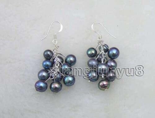 "SALE GENUINE 6-7mm white Natural pearl 2/"" Grape Dangle earring hook ear111"
