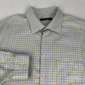 Ermenegildo-Zegna-Button-Front-Shirt-Men-3XT-Blue-Beige-Checks-Thick-Long-Sleeve