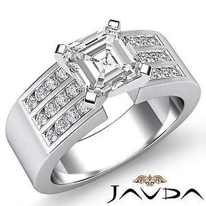 Asscher-Talla-Diamante-Juego-Canal-Anillo-de-Compromiso-GIA-G-VS2-14k-Oro-Blanco