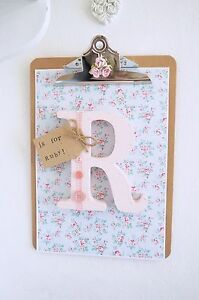 Vintage-Shabby-Chic-Pink-Personalised-Wooden-Letter-Clipboard-Nursery-Baby-Gift