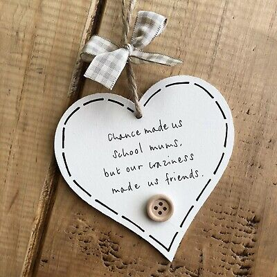 Personalised Wooden Hanging Heart Plaque Loving Quote Leaving Gift Sign