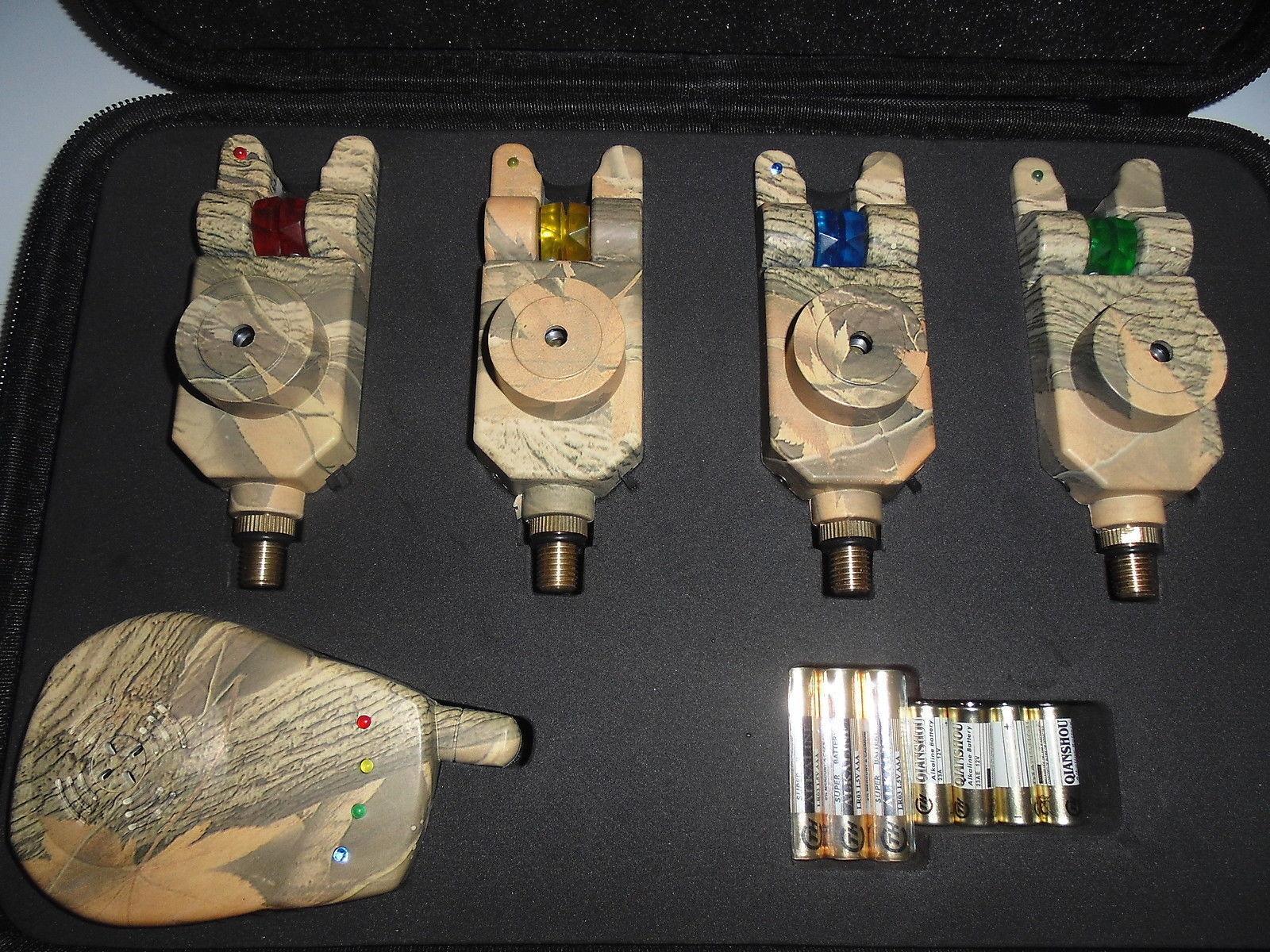 4 x TMC Camo Mag Lum Roller wireless Bite Alarms, Receiver. LED's, Carp, Lum Mag wheel, 7dcd47