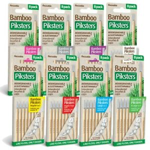 Bamboo Piksters Interdental Brushes 8 Pack Choose Size 00 to 6 Reusable Straight