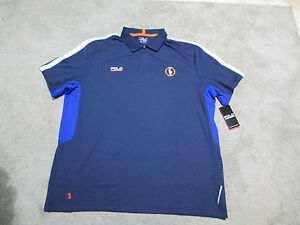 NEW-Ralph-Lauren-Polo-Sport-Shirt-Adult-Extra-Small-Blue-Orange-Dri-Fit-Rugby