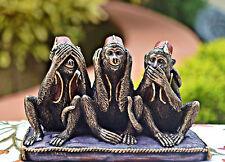 "3 Gandhi's Monkeys Figurines ""See no evil,Hear no evil,Speak no evil"" xmas Gift"
