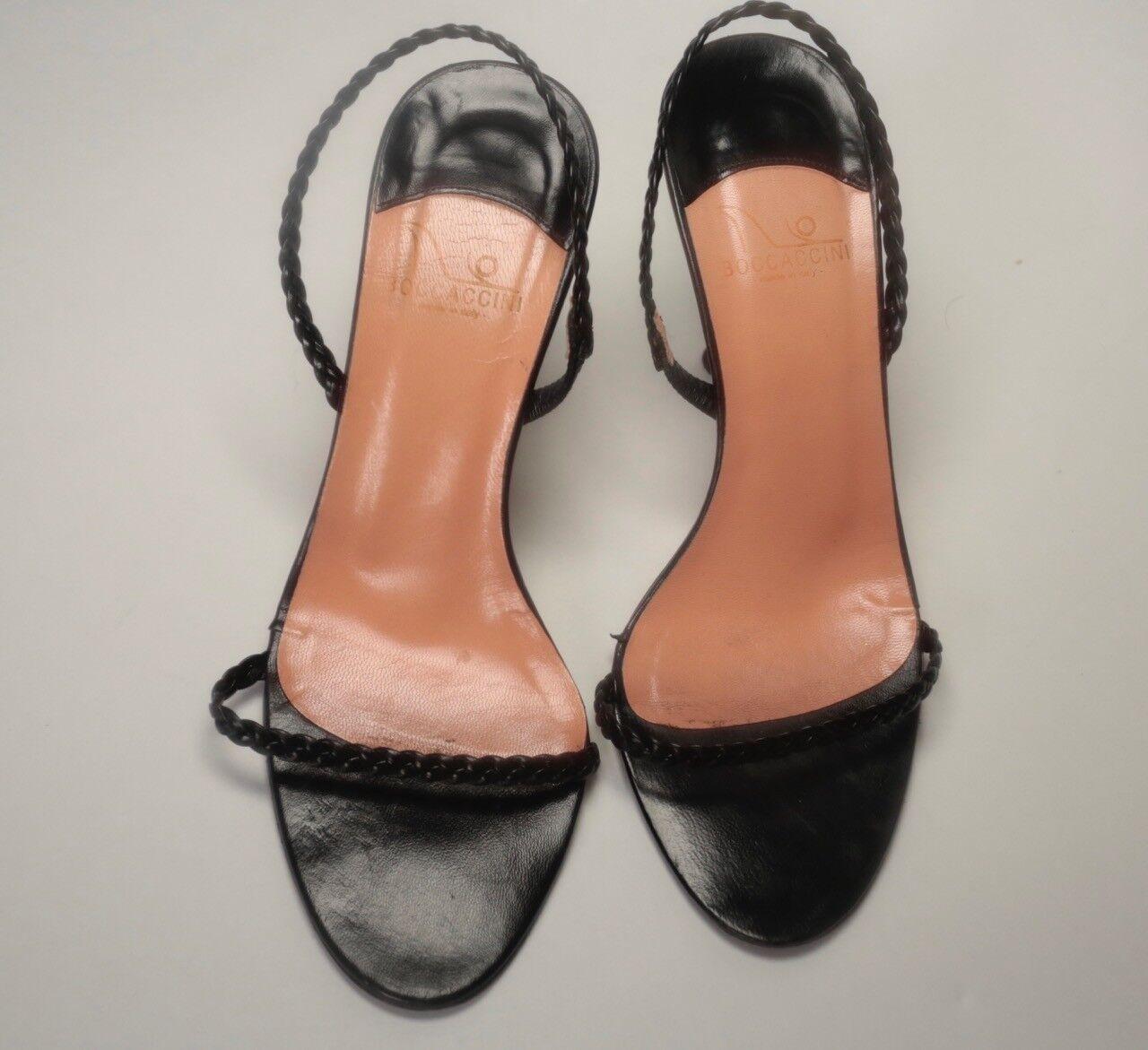 Boccacini schwarz Leder heels with straps braided straps with 4ae72b