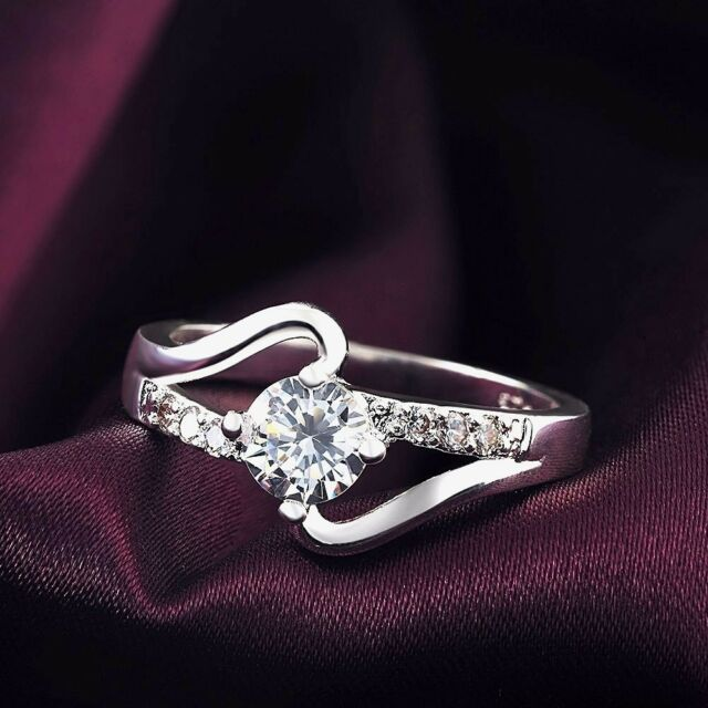 womens size 7 infinity promise ring cubic zirconia 925 sterling silver