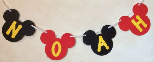 4 LETTERS MICKEY MOUSE PERSONALISED BIRTHDAY PARTY BANNER