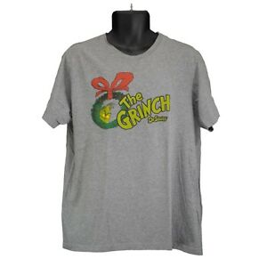Mens Dr. Seuss The Grinch Christmas Gray Short Sleeve T-Shirt Size L ... df5ad3ac0