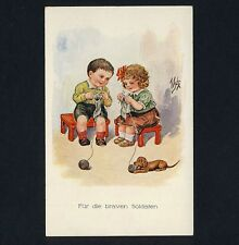 STRICKENDE KINDER & DACKEL / KNITTING CHILDREN & SAUSAGE DOG * Vintage 1910s PC