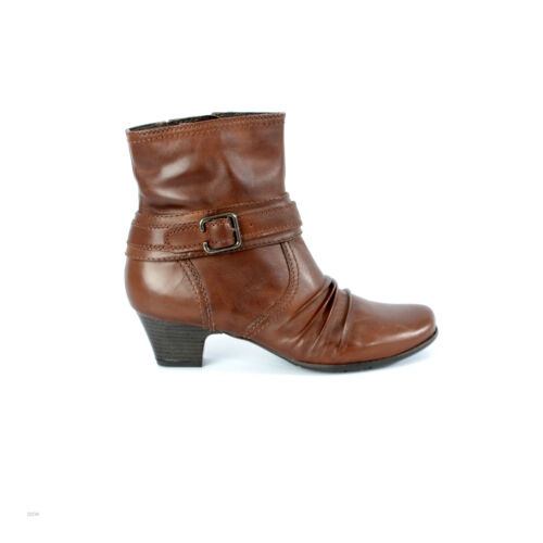 New Ladies Brown Leather Ankle Zip Up Boots Black Heel Shoes Sizes 3 4 5 6 7 8 9