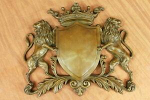 Royal-Crest-Coat-of-Arms-Bronze-Plaque-Lions-Shield-Statue-Sculptur-Art-Nouveau