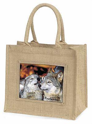 Verliebte Wölfe Soulmates Große Natürliche Jute-einkaufstasche Weihnachten,