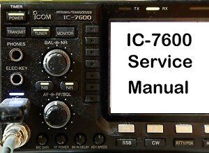 icom ic 7600 service manual and addendum cdrom pdf ebay rh ebay com Icom IC- 706MKII Schematic Icom Ic- 7610