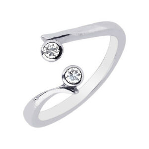 .925 Sterling Silver 2 CZ Crossover Body Art Adjustable Ring or Toe Ring