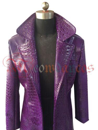 Suicide Squad Joker Costume Halloween Cosplay Jacket Purple Men/'s Trench Coat