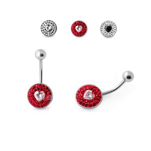 Piercing Ombelico Belly Ring Multi Crystal con Cuore Interno