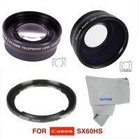 Wide Angle Lens + Macro Lens +telephoto Zoom Lens For Canon Powershot Sx60hs