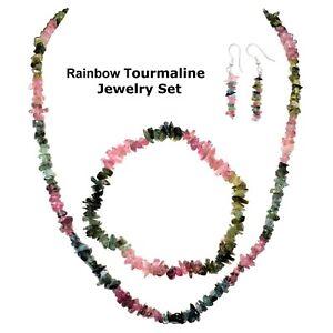 "Rainbow Tourmaline Jewelry Set - 18"" Necklace, 7"" Bracelet, 2"" Earrings"