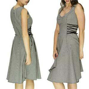 Dr-FAUST-DOGTOOTH-DESIGNER-MIDI-DRESS-with-RIBBON-LATTICE-VINTAGE-ALTERNATIVE