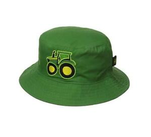 b7ab9e8e536 Image is loading Infant-Boys-John-Deere-Bucket-Hat-with-Tractor-