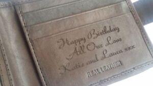 Brown-Personalised-Engraved-Men-039-s-Leather-Wallet-Birthday-Christmas-Dad-Grandad