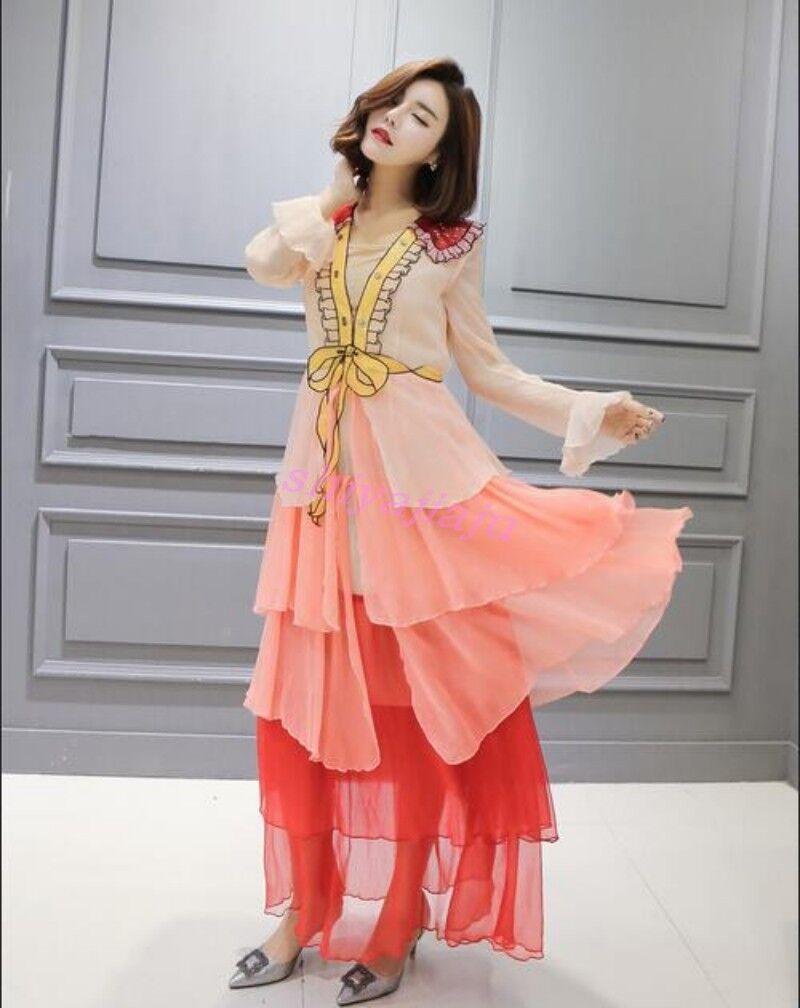 Elegant Pink Sequins Bowknot Princess Skirt Ladies Long Sleeve Prom Tiered Dress