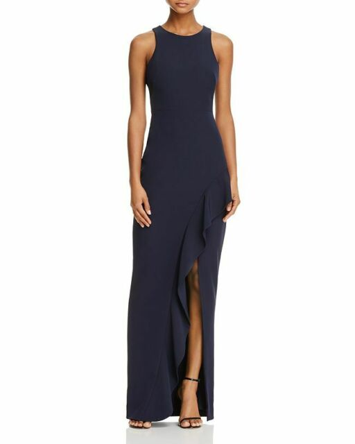 0f5e35aa NEW $328 AVERY G WOMENS BLUE SLEEVELESS RUFFLE HIGH SLIT LONG GOWN DRESS  SIZE 0