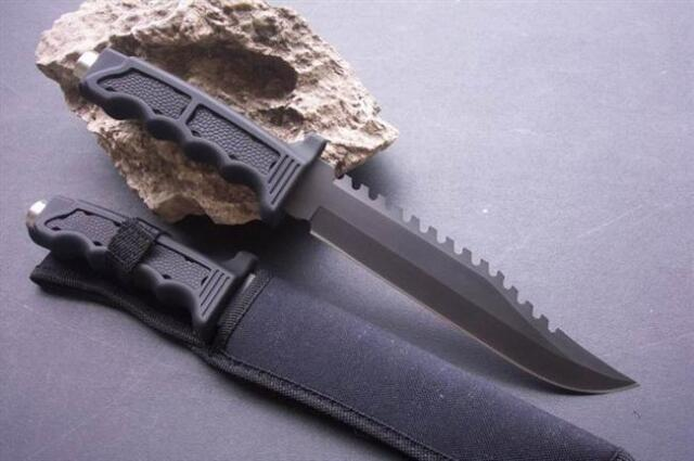 Hunting Knife Camping Survival Military Serrated Edge Outdoor Fishing