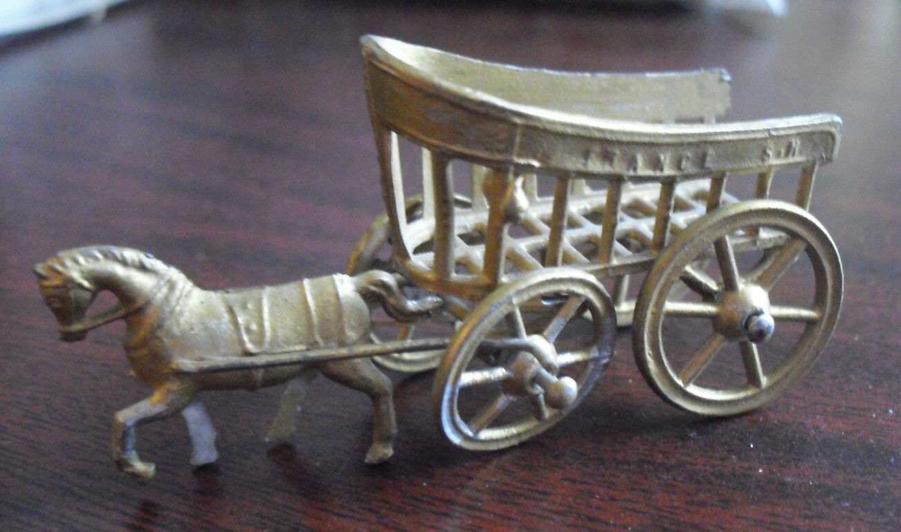 RARE Antique Early 1900s Small Metal France SR Horse Drawn Cart