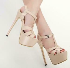 Womens-Super-High-Heels-Platform-Stilettos-Ankle-T-strap-Sandals-Shoes-Nightclub